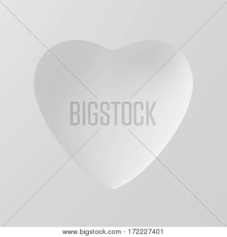 Concave Shape Of White Heart On White Background. 3D Illustration.