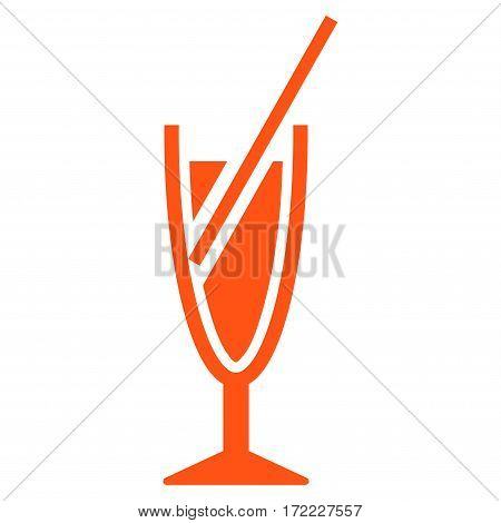 Cocktail flat icon. Vector orange symbol. Pictograph is isolated on a white background. Trendy flat style illustration for web site design logo ads apps user interface.