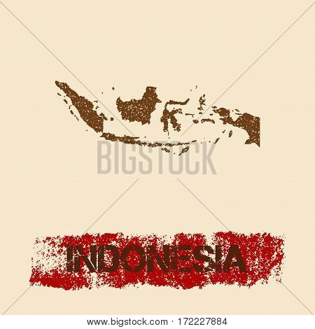 Indonesia Distressed Map. Grunge Patriotic Poster With Textured Country Ink Stamp And Roller Paint M