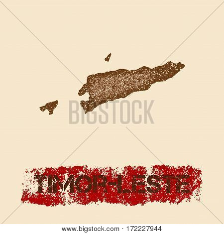 Timor-leste Distressed Map. Grunge Patriotic Poster With Textured Country Ink Stamp And Roller Paint