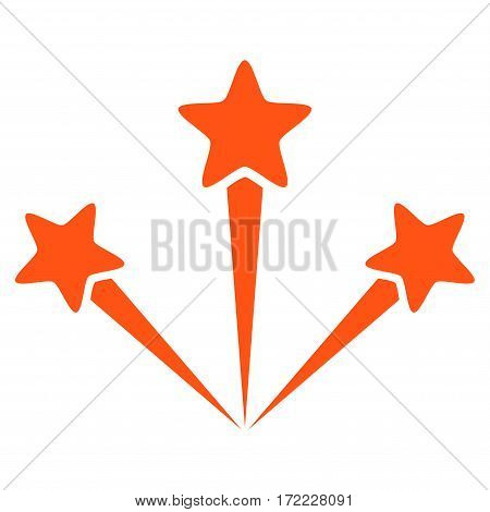 Festive Fireworks flat icon. Vector orange symbol. Pictogram is isolated on a white background. Trendy flat style illustration for web site design logo ads apps user interface.