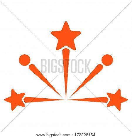 Fireworks Bang flat icon. Vector orange symbol. Pictogram is isolated on a white background. Trendy flat style illustration for web site design logo ads apps user interface.