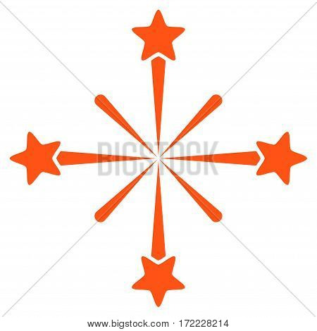 Fireworks flat icon. Vector orange symbol. Pictograph is isolated on a white background. Trendy flat style illustration for web site design logo ads apps user interface.