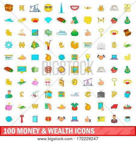 100 money and wealth icons set in cartoon style for any design vector illustration