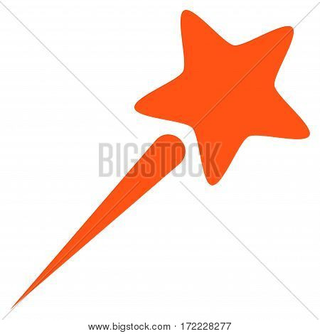 Flying Star flat icon. Vector orange symbol. Pictograph is isolated on a white background. Trendy flat style illustration for web site design logo ads apps user interface.