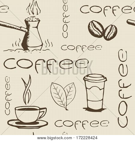 Hand drawn seamless pattern with coffee cups cezve beans leaves and lettering. Sketchy wrapping texture. Vector eps8 illustration.