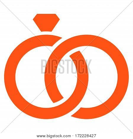 Gem Rings flat icon. Vector orange symbol. Pictograph is isolated on a white background. Trendy flat style illustration for web site design logo ads apps user interface.