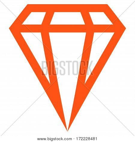 Gem flat icon. Vector orange symbol. Pictogram is isolated on a white background. Trendy flat style illustration for web site design logo ads apps user interface.