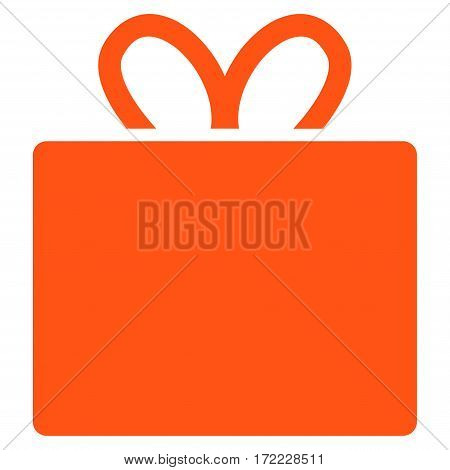 Gift flat icon. Vector orange symbol. Pictograph is isolated on a white background. Trendy flat style illustration for web site design logo ads apps user interface.