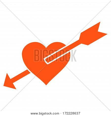 Heart Arrow flat icon. Vector orange symbol. Pictograph is isolated on a white background. Trendy flat style illustration for web site design logo ads apps user interface.
