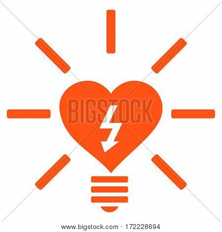 Heart Electric Bulb flat icon. Vector orange symbol. Pictograph is isolated on a white background. Trendy flat style illustration for web site design logo ads apps user interface.