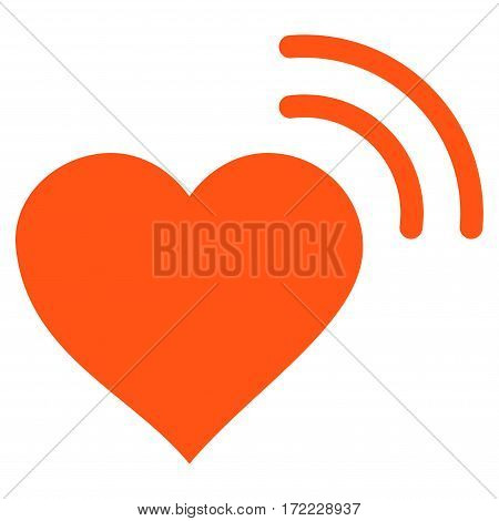 Heart Radio Signal flat icon. Vector orange symbol. Pictograph is isolated on a white background. Trendy flat style illustration for web site design logo ads apps user interface.