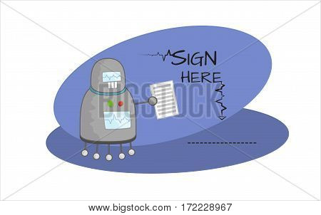 Cute retro cartoon robot character with contract in hand. Text sign here and line. Vector illustration on blue rounded background
