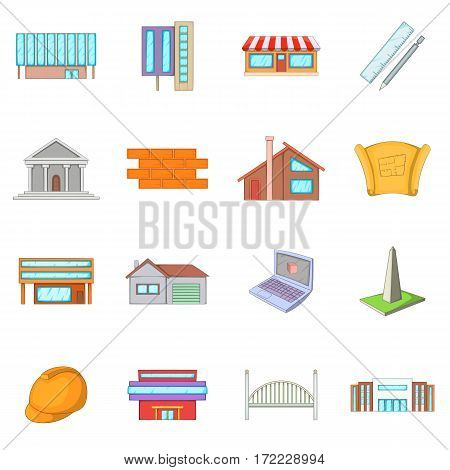 Architecture items icons set. Cartoon illustration of 16 architecture items vector icons for web