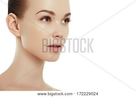 Beautiful Girl With Beautiful Makeup, Youth And Skin Care Concept. Woman Beauty Face Portrait Isolat