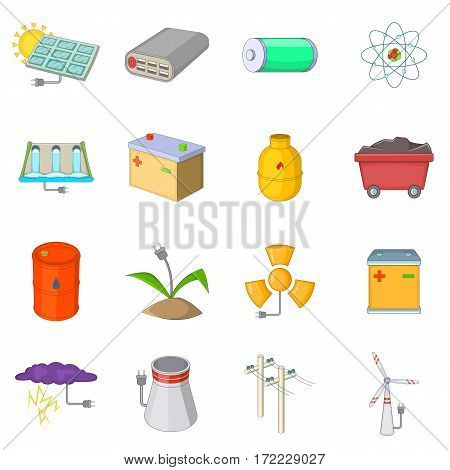 Energy sources icons set. Cartpoon illustration of 16 energy sources vector icons for web