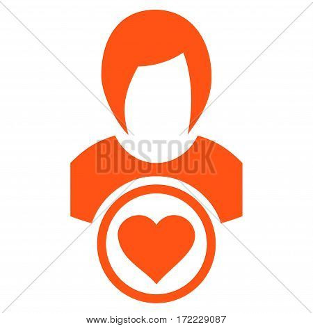 Lady Love flat icon. Vector orange symbol. Pictogram is isolated on a white background. Trendy flat style illustration for web site design logo ads apps user interface.
