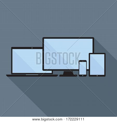 Smartphone tablet laptop and desktop computer icons. Set of device icons in flat style. Digital devices mockup with blank display. Responsive design template in vector EPS8 format.