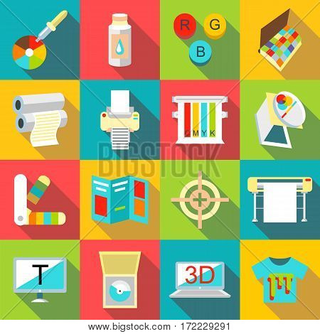 Printing processes icons set. Flat illustration of 16 printing processes vector icons for web