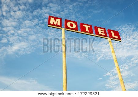 Motel Sign against a blue sky along the Route 66 USA; Concept for travel in America and Road Trip