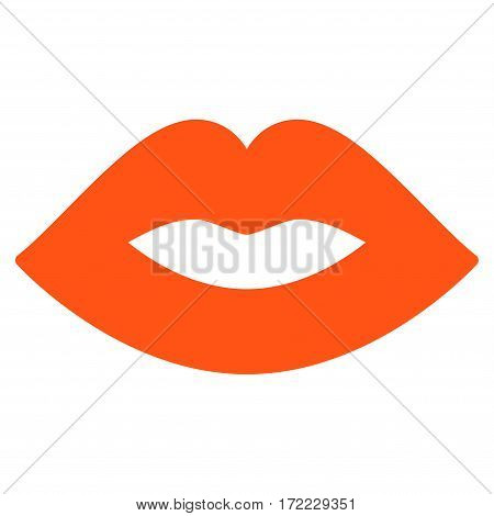 Lips flat icon. Vector orange symbol. Pictogram is isolated on a white background. Trendy flat style illustration for web site design logo ads apps user interface.