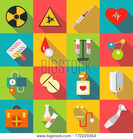 Medical items icons set. Flat illustration of 16 medical items vector icons for web