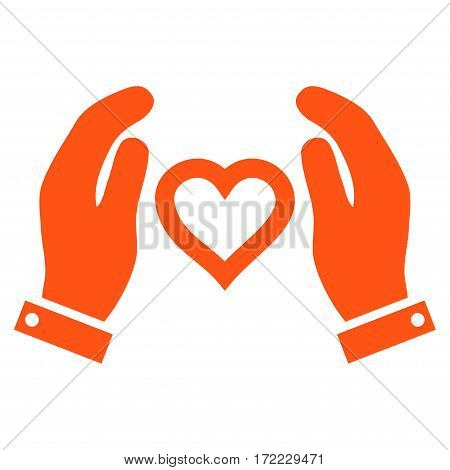 Love Care Hands flat icon. Vector orange symbol. Pictograph is isolated on a white background. Trendy flat style illustration for web site design logo ads apps user interface.