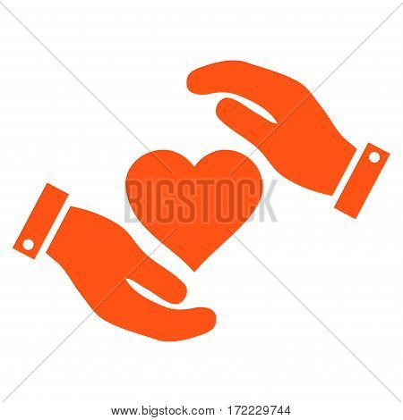 Love Heart Care Hands flat icon. Vector orange symbol. Pictogram is isolated on a white background. Trendy flat style illustration for web site design logo ads apps user interface.