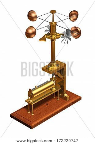 Antique Anemometer. Weather Station On White Background. 3D Illustration.