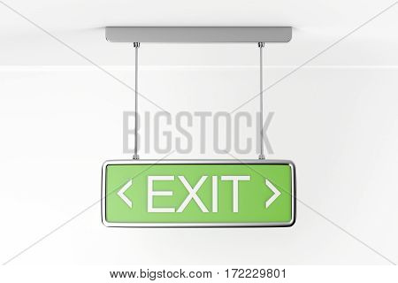 Emergency exit sign in the building, 3D illustration