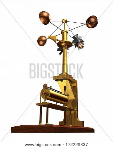 Antique Anemometer On White Background. 3D Illustration.