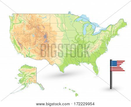 USA Physical Map isolated on white. Blank map.