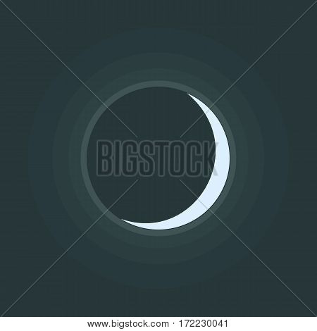Crescent icon. Waxing lunar symbol on night sky. Luna in phase of new moon. Vector eps8 illustration in flat design style without transparency.