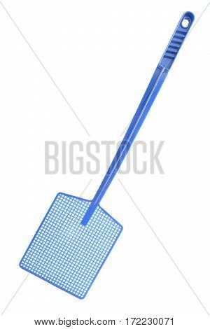 blue fly swat isolated on white background