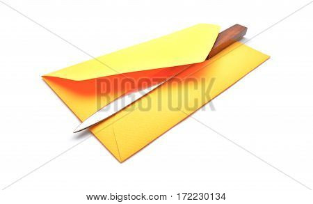 an open envelope over white a background