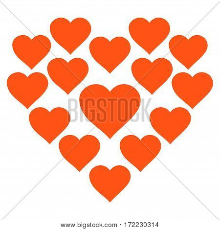 Love Hearts Shape flat icon. Vector orange symbol. Pictograph is isolated on a white background. Trendy flat style illustration for web site design logo ads apps user interface.