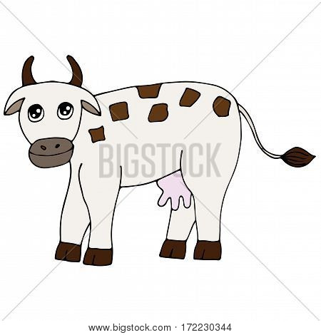 Cute colorful cow isolated on the white background. For coloring book and other child design.