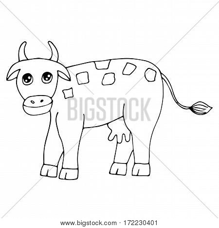 Cute cow isolated on the white background. For coloring book and other child design.
