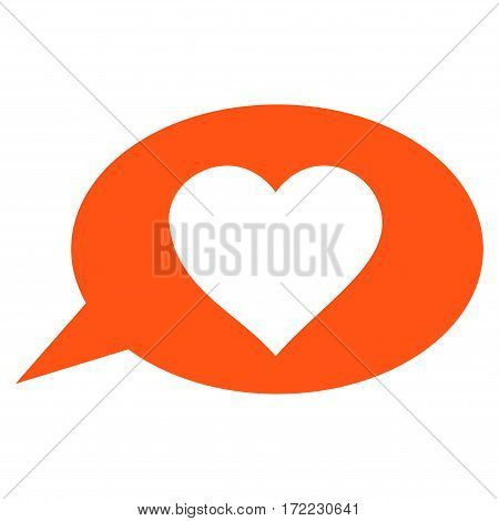 Love Message Balloon flat icon. Vector orange symbol. Pictogram is isolated on a white background. Trendy flat style illustration for web site design logo ads apps user interface.