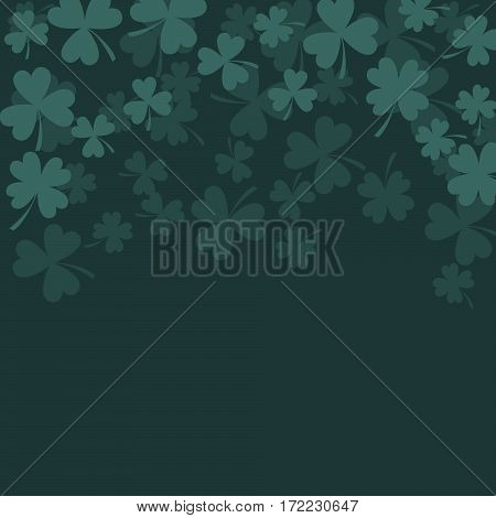 Clover trefoil leaves dark green card vector background for greetings and posters. St. Patrick day celebration banner.