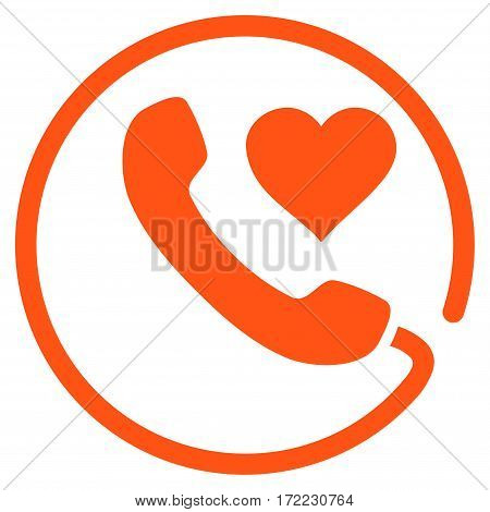 Love Phone flat icon. Vector orange symbol. Pictograph is isolated on a white background. Trendy flat style illustration for web site design logo ads apps user interface.