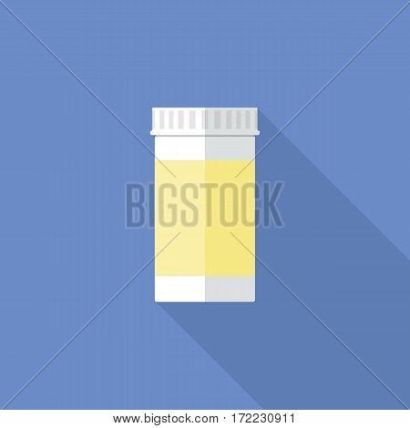 Pills packaging container flat icon. White plastic bottle with medical drugs. Stylized medication symbol. Health care vector illustration.