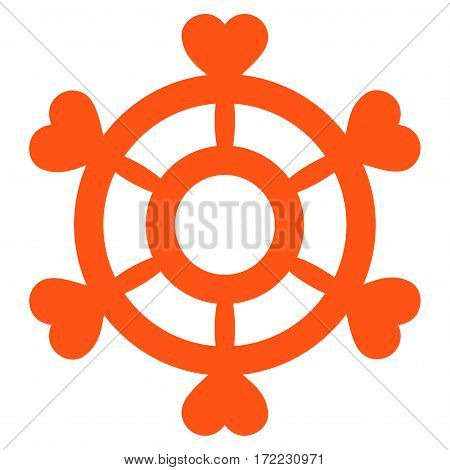 Lovely Boat Steering Wheel flat icon. Vector orange symbol. Pictograph is isolated on a white background. Trendy flat style illustration for web site design logo ads apps user interface.