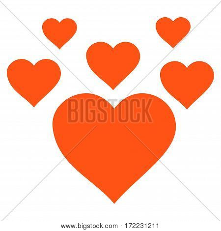 Lovely Hearts flat icon. Vector orange symbol. Pictograph is isolated on a white background. Trendy flat style illustration for web site design logo ads apps user interface.