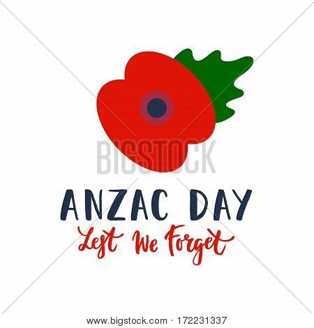 Remembrance Day poppy card. Anzac day Australia, Zealand, Kenia. Lest we forget lettering, Anzac lettering.