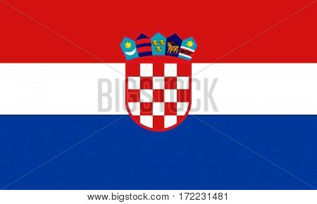 flat croatian flag in the colors red, blue and white