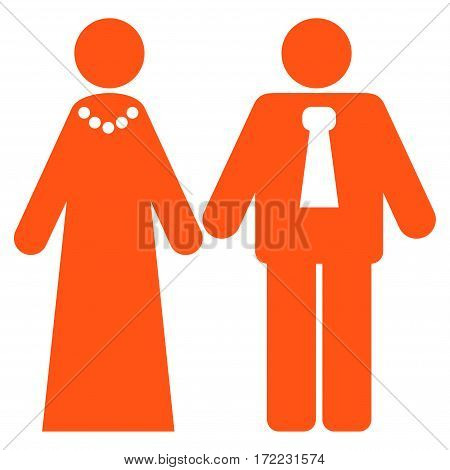 Newlyweds flat icon. Vector orange symbol. Pictograph is isolated on a white background. Trendy flat style illustration for web site design logo ads apps user interface.
