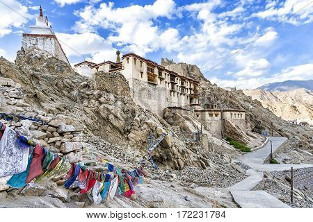 The Shey Palace complex in Ladakh region, India. The palace, located 15 kilometres to the south of Leh, mostly in ruins now, was built first in 1655 and was the summer retreat of the kings of Ladakh