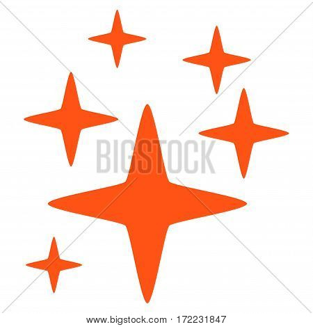 Sparkle Stars flat icon. Vector orange symbol. Pictogram is isolated on a white background. Trendy flat style illustration for web site design logo ads apps user interface.