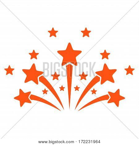 Star Fireworks flat icon. Vector orange symbol. Pictogram is isolated on a white background. Trendy flat style illustration for web site design logo ads apps user interface.